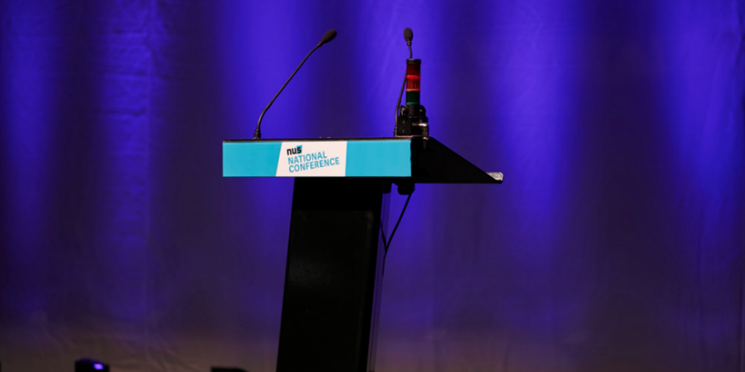 A lectern at the NUS national conference.